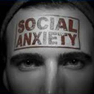 man with forhead stamp saying social anxiety