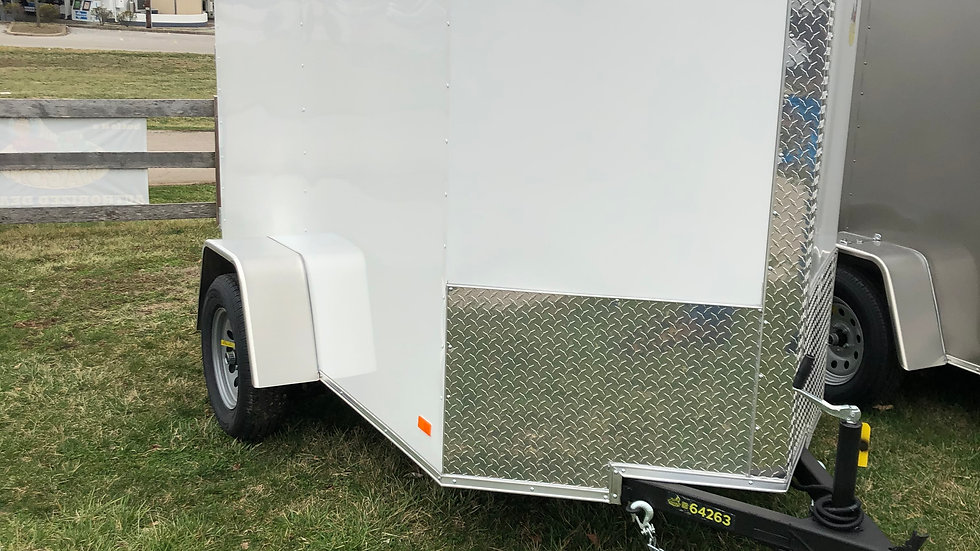 2021 White Covered Wagon 5x8 Enclosed Trailer