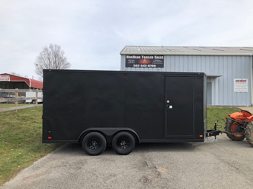 Covered Wagon 7'x16' Black Enclosed Trailer