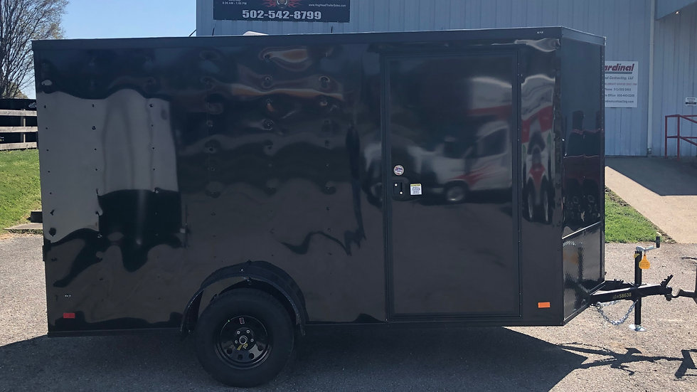 Covered Wagon 6'x12' Black Enclosed Trailer