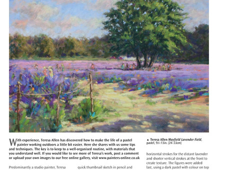 "I'm really pleased to have my ""Mayfield Lavender Field"" featured in the Leisure Painter (Oct edition"