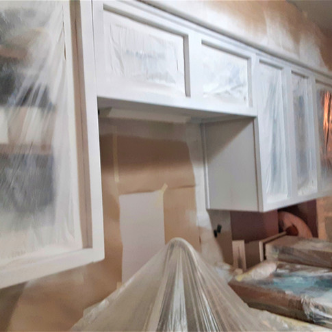 During Cabinet Painting