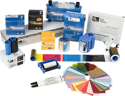 Monochrome, CMYK, Silver, Gold, White, Ribbons, Card stocks, White, Red, Blue, Green, Gold, Silver, RFID, Magnetic, Cleaning cartridges, Rollers, Cards