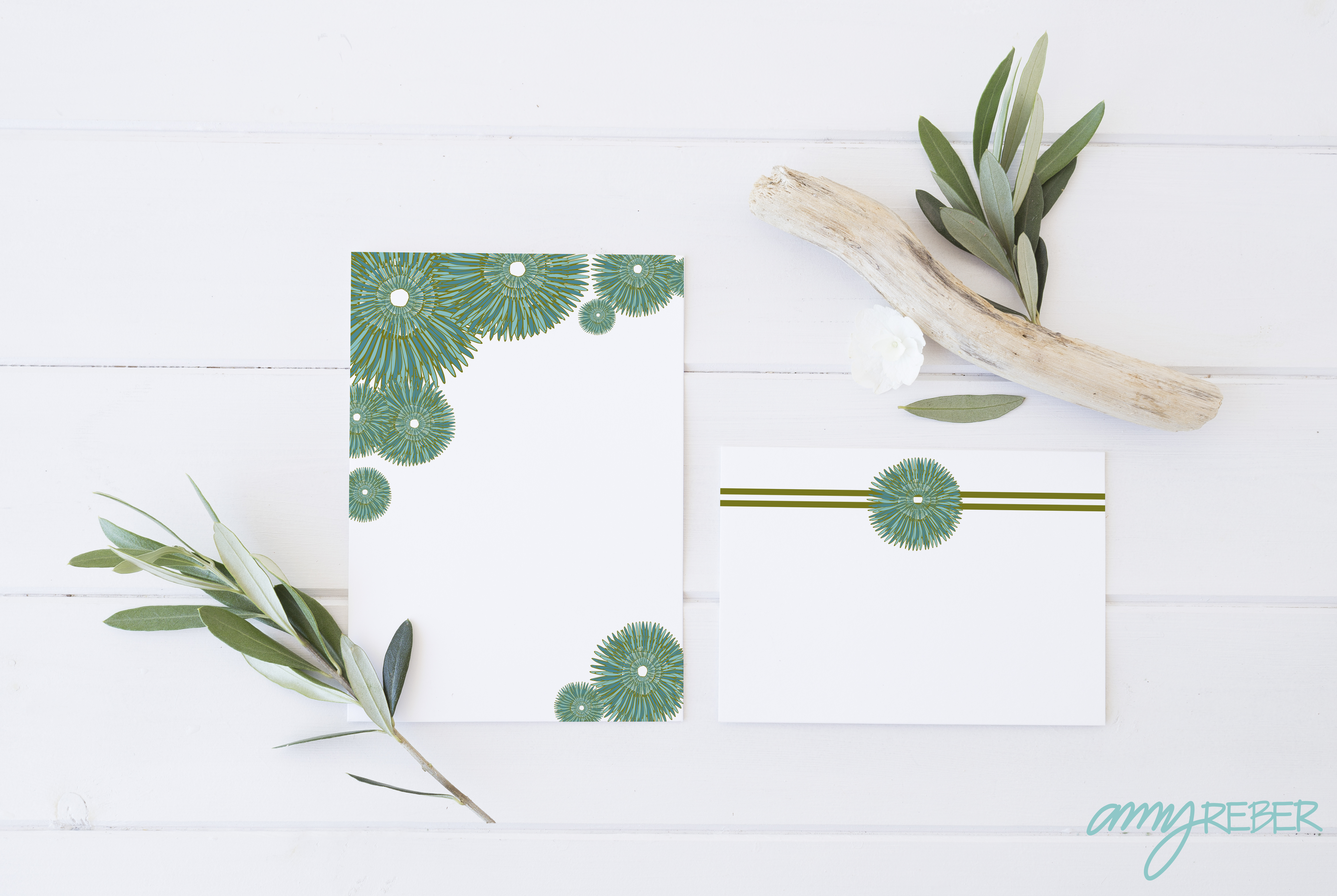 Turquoise Flower note cards-01
