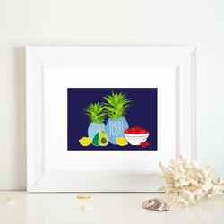 fresh fruit group framed