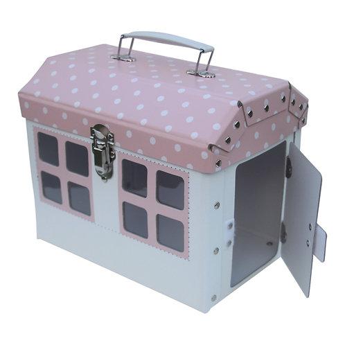 Rózsaszín babaház- tároló és játék egyben