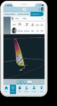 windsurf, rendu 3D, trajectoire, analyse