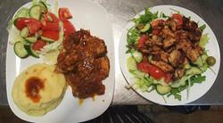 roast pork salad mashed potatoes, grille