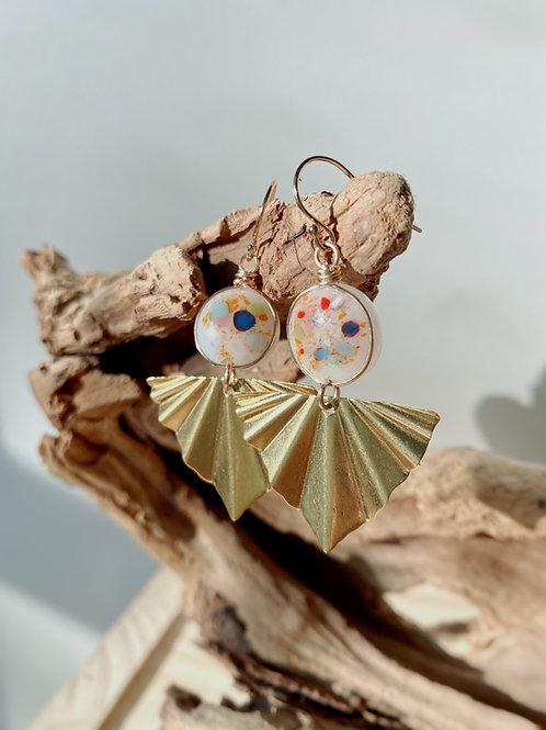 Fused Glass Gold Fan Earrings | Rainbow Sprinkles | Urban