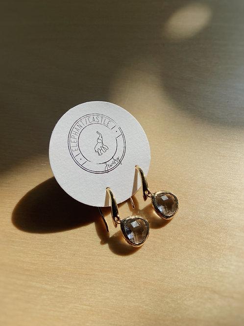 Gold and Venetian Glass Hook Earrings   Elephant/Castle