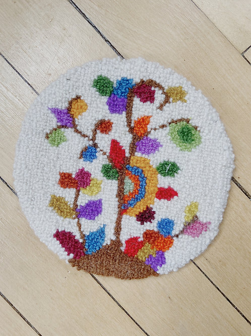 Tree of Life Round Mat   Cheticamp Rug Hooking