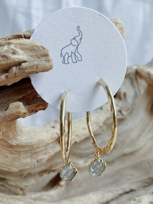 Gold Hammered Hoop with Blue Venetian Glass Earrings   Elephant/Castle by Dara