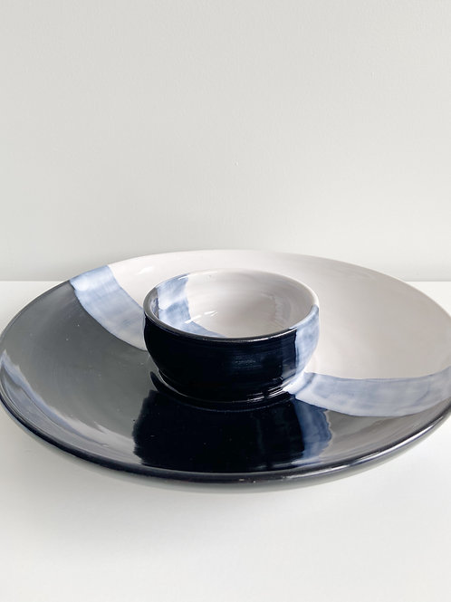 Black + White Chip & Dip | Anderson Pottery