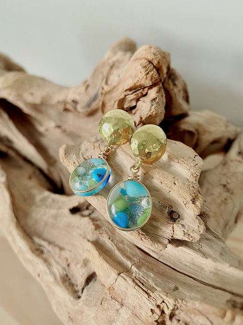 Fused Glass Gold Hammered Stud Earrings | Blue + Green Confetti | Urban F