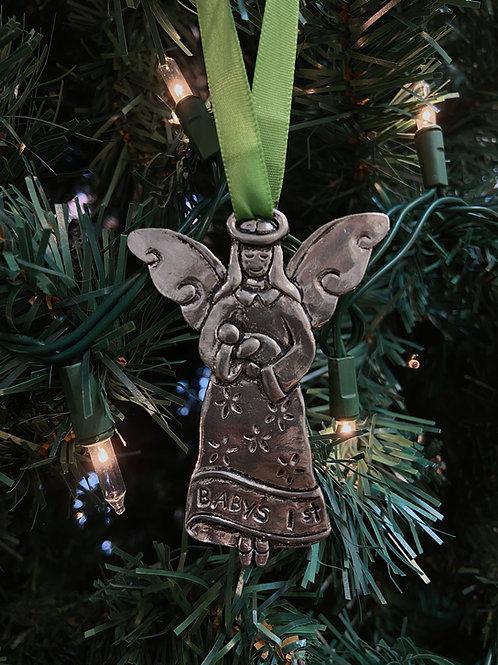 Pewter Baby's 1st Christmas Angel Ornament| Basic Spirit