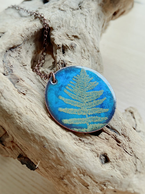 Fern Necklace in Shimmering Blue + Spring Green   Aflame Creations
