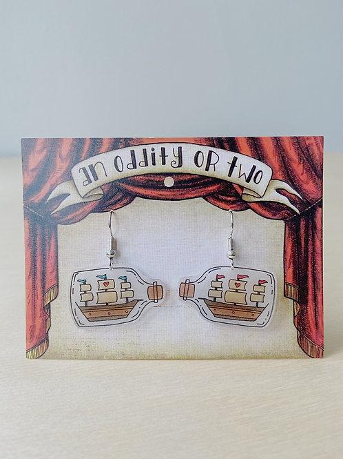Ship In A Bottle Earrings | An Oddity of Two