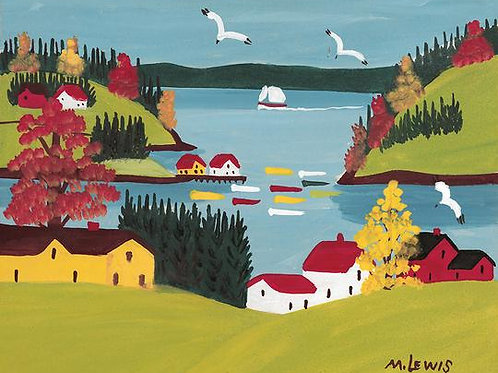 Coastal Scene with Gulls Print | Maud Lewis | Art Gallery of NS