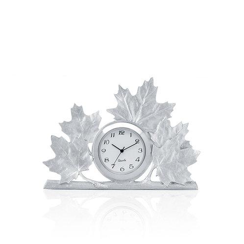 Maple Leaf Clock   Amos Pewter