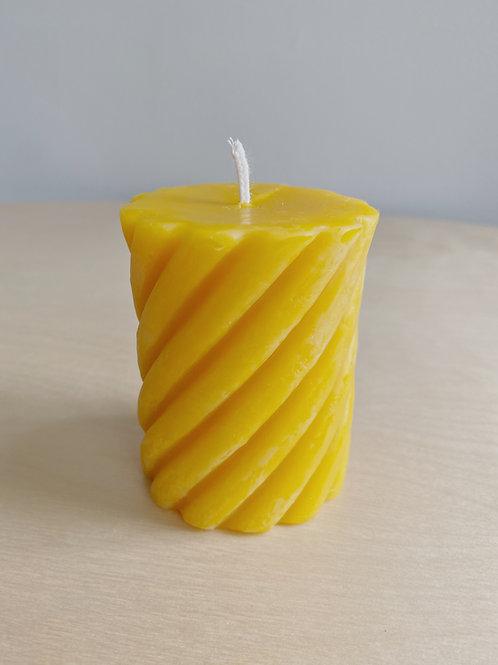 Beeswax Swirl Pillar Candle | Kittilsen's Honey