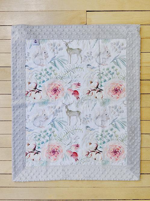 Minky Blanket | Floral Woodland Animals | RoseBay Quilts