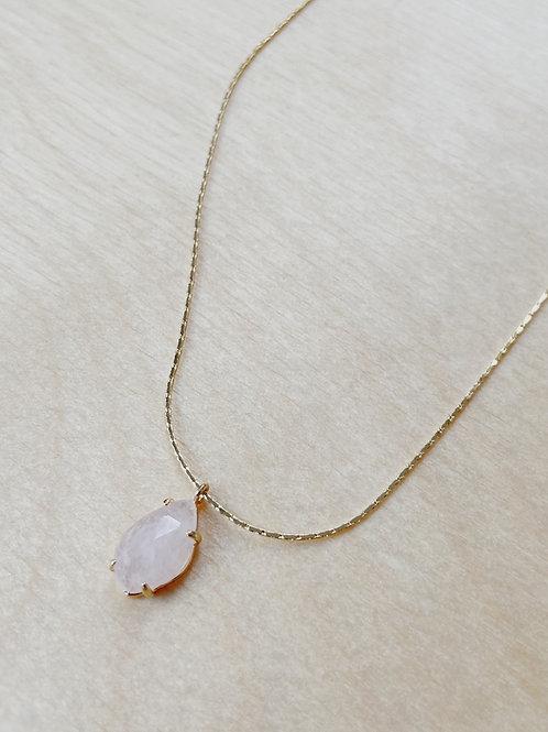 Rose Quartz Oval Pendant + Gold Necklace | Elephant/Castle
