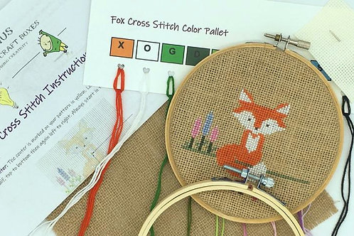 Fox + Lupins Cross Stitch Kit | Genius Premium Craft Boxes