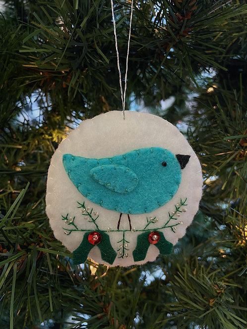 Turquoise Bird Felt Ornament | Rosemary Taylor