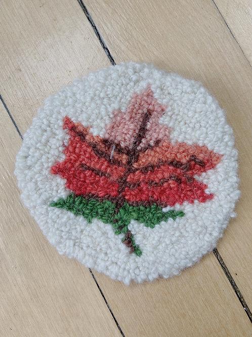 Maple Leaf Coaster | Cheticamp Rug Hooking