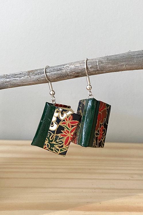Dream Book Earrings   Green + Red Leaf   Terry Durnavich