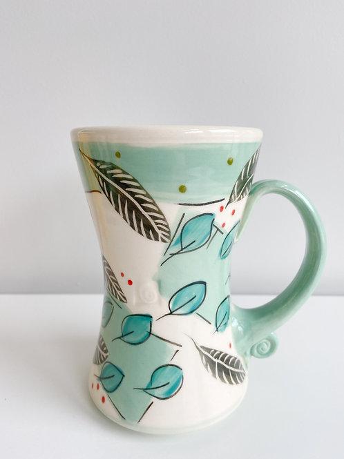 Tall Aqua Leaves Mug   Keffer Pottery