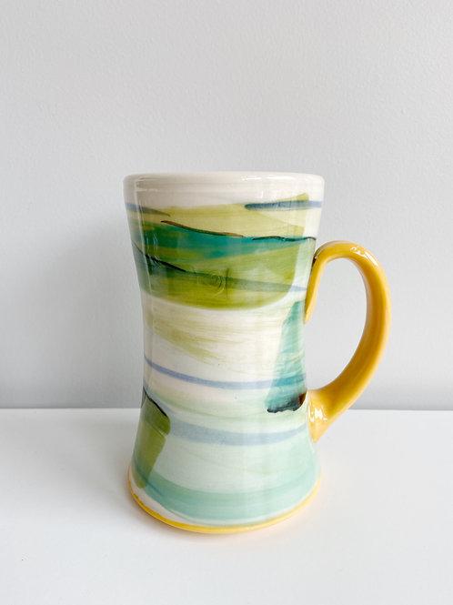 Tall Green/Teal + Orange Mug | Keffer Pottery