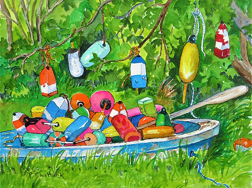 Old Buoys Hanging Out- Original Painting   Pat Shattuck