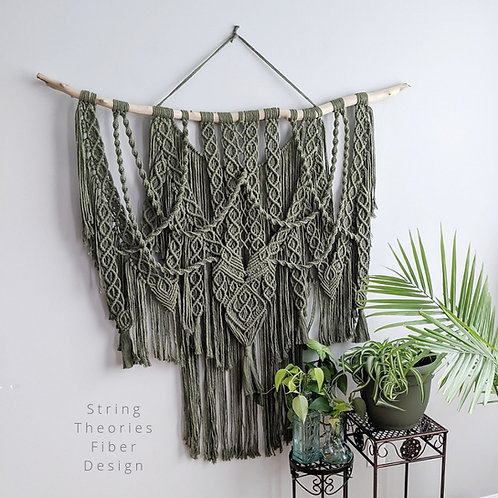 Large Olive Green Macrame Wall Hanging | String Theories Fiber Design