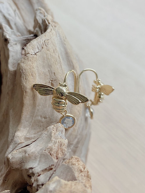 Bee Earrings with Venetian Glass in Smoke | Elephant/Castle by Dara