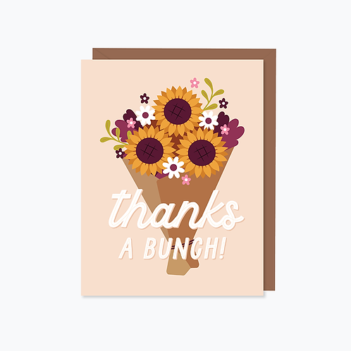 Sunflower Thanks a Bunch Card   Halifax Paper Hearts