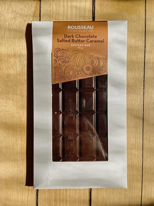 Dark + Salted Butter Caramel Artisan Chocolate Bar | Rousseau Chocolatier
