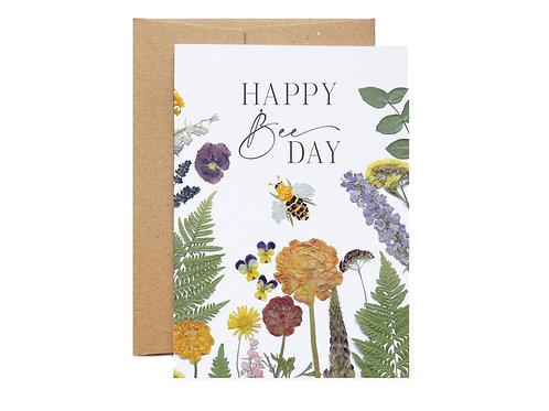 'Happy Bee Day' Pressed Flower Design Card   Seek + Bloom