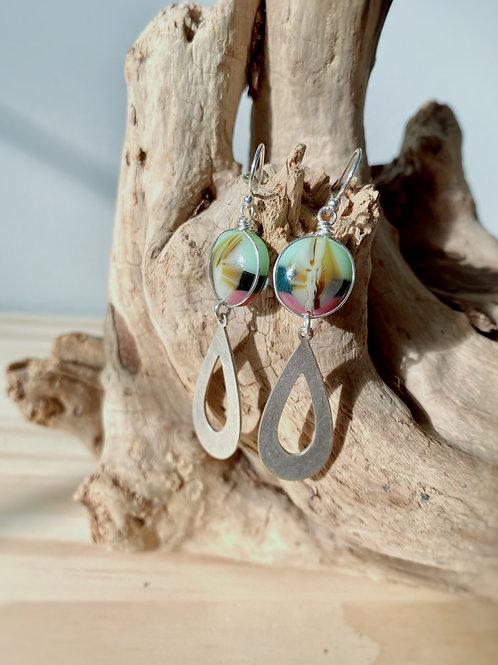 Fused Glass Teardrop Silver Earrings | Pistachio + Rose | Urban F