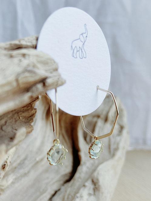 Gold Octagon Hoop + Erendite Glass Earrings | Elephant/Castle