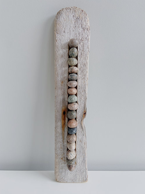 Plank Driftwood + Stacked Rock Hanging | Cornerstone