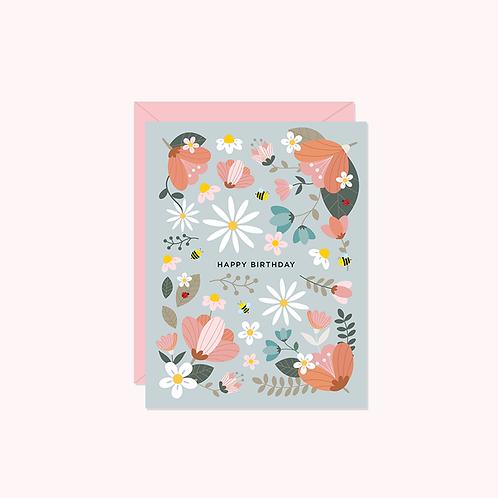 Happy Birthday- Sage Floral Card   Halifax Paper Hearts
