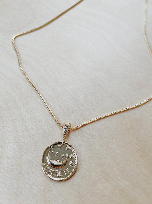 Gold Moon Charm Pendant + Gold Necklace   Elephant/Castle