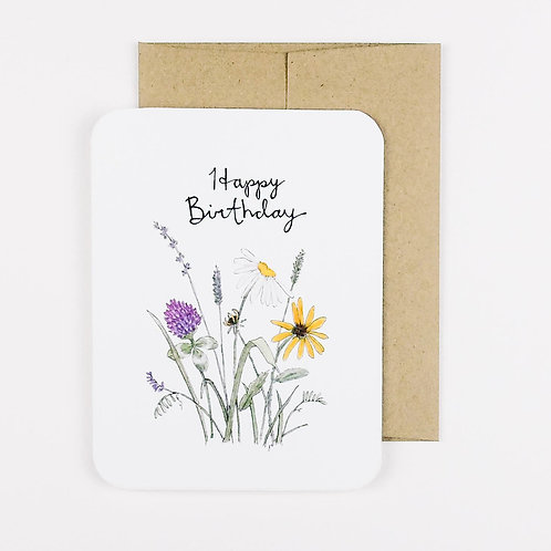 Flower Field Happy Birthday Card | Field Day Paper