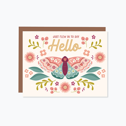 Just Flew In To Say Hello Card   Halifax Paper Hearts