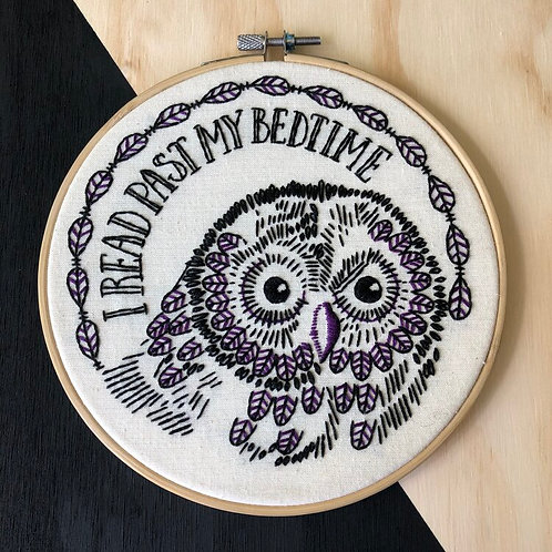 I Read Past My Bedtime Complete Embroidery Kit | Hook, Line + Tinker