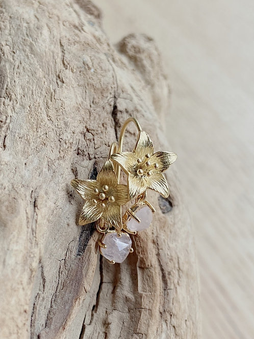 Flower with Hanging Rose Quart Stone Earrings   Elephant/Castle by Dara
