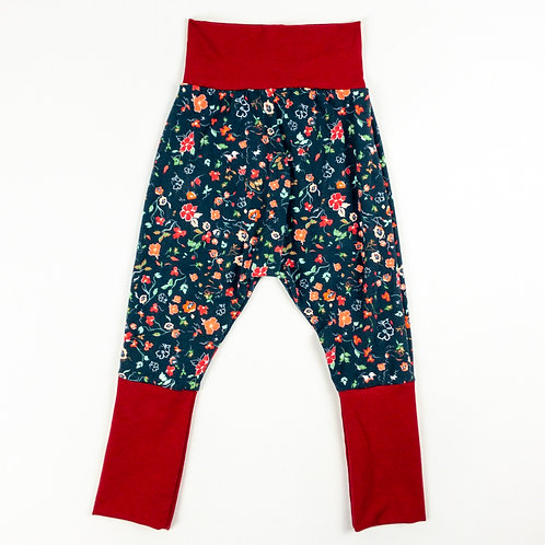 Grow-With-Me Pants | Floral on Navy + Garnet