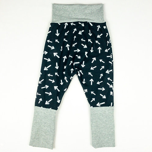 Grow-With-Me Pants | Arrows on Black + Grey