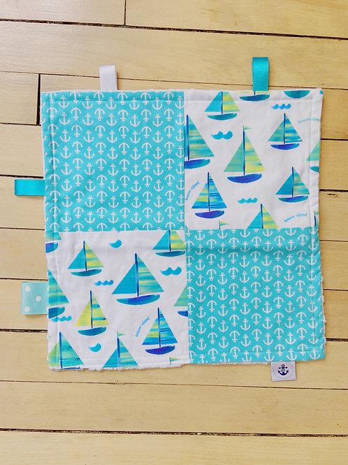 Baby Sensory RibbonMini Blanket | Blue Sailboats | RoseBay Quilts